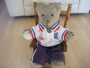 Here is Gregory, he likes wearing football shirts, he gets his clothes from The Build A Bear shop.