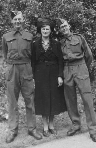 left to right - Gordon, his mother Annie, Ron