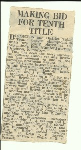 newspaper clipping about Enid playing Table Tennis