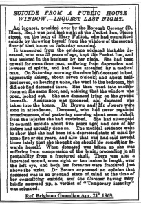 The Death of Mary Fullick, Brighton Guardian April 21st 1869