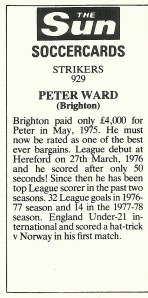 Peter Ward Sun Soccercard back