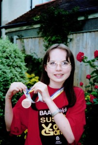 Alison with the Sussex Youth Games Bronze Medal in 2001