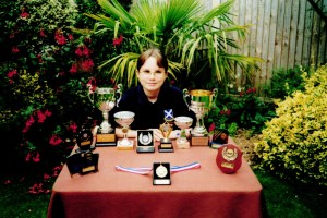 Alison with her trophies in 2001