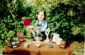 Alison Woodland and her trophies won during 2002