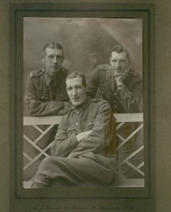 George John Dinnis (front) with his brothers Harry Leonard Percy (left) and Joseph Taylor (right) 1915