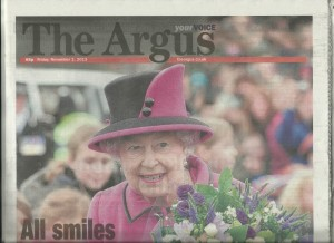 Front page of The Argus, the local newspaper
