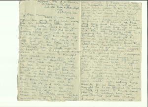 Letter written by Gordon Charles Dinnis in April 1944