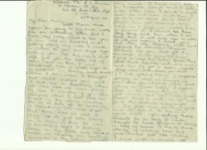 Letter written by Gordon Charles Dinnis in April 1944
