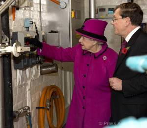 The Queen starting the brewing of the Elizabethan Ale, Harveys Brewery, taken from The British Monarchy Facebook page.