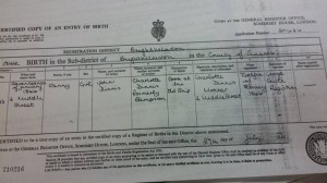 Birth certificate of Fanny Dinnis