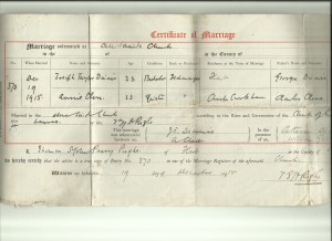 Marriage Certificate of Joseph Taylor Dinnis and Annie Cleeve. 19 December 1915