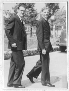 the groom (Gordon Dinnis) and best man (his younger brother, Ronald Dinnis) arriving at the church