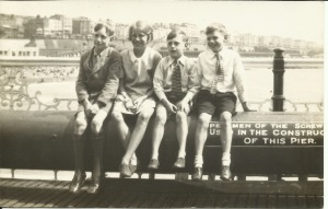 Jack, Nancy, Ron and Gordon Dinnis sitting on the Palace pier in Brighton
