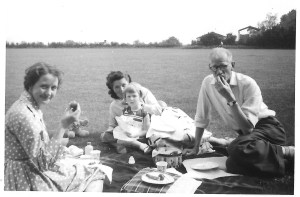 A summer picnic with a family friend Enid, Jackie (middle) Gordon (right)