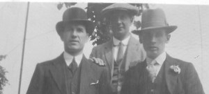 LtoR Joseph T Dinnis, Uncle Ern, Fred June 27 1926 - Copy