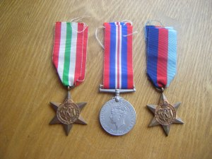 Italy Star, War Medal 1939-45 and 1939-45 Star