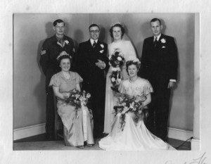 26 April 1947 Standing left to right: Gordon Charles Dinnis, Joseph Herbert Arkell, Nancy Dora Arkell, Jack Douglas Dinnis