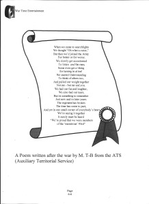 A poem written after the war by M. T-B from the ATS