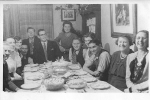 L-R Mr Howells, Nancy Dinnis, Annie Dinnis, Arthur Lelliot, Gordon Dinnis, Ron Dinnis, Enid May Dinnis, Pat Lelliot son of Arthur and Bob, ?, Mick Gates, Winifred Howells, Bob Lelliot.