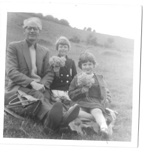 Dad with me and my good friend Karen (front). His bag is there on the left!