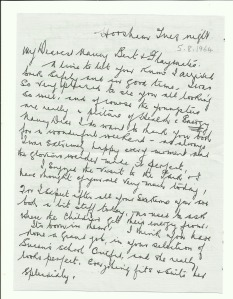 Letter to Nancy from her father, Joseph Taylor Dinnis. 5 August 1964