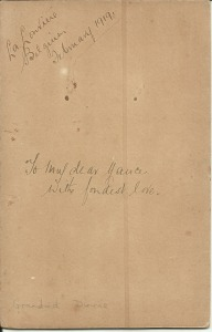 La Louviere, Belgium Feb 1919 'To my dear Nance (his name for Annie, his wife) with fondest love.'