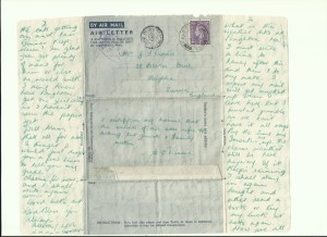 One of many letters written home by Gordon Charles Dinnis during WW2