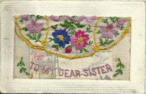 To my dear sister with small card in pocket