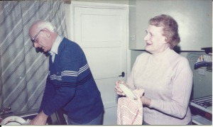 23 December, Gordon and Nancy doing the dishes