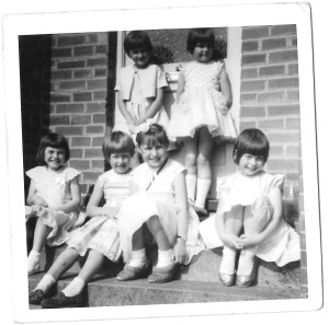 My birthday party, with Karen standing at the back on the left. I am seated, second from left.