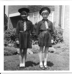 Here we are in our Girls Brigade uniform, in my front garden. I am on the right, Karen on the left.