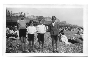 Left to right: Nancy, Ron, Gordon and Jack on Brighton beach